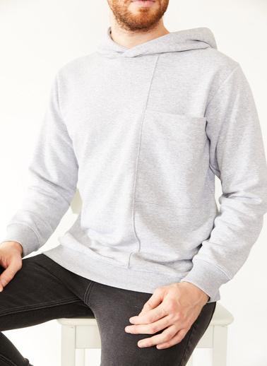 XHAN Antrasit Geniş Cep Detaylı Üç Iplik Kapüşonlu Sweatshirt 1Kxe8-44177-36 Gri
